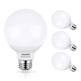 G25 LED Bulb, Aooshine 50W Incandescent Bulb Equivalent Daylight White 5000K 5 Watts E26 Base Globe Vanity Makeup Mirror Lights Bulb, Non-dimmable(Pack of 4)