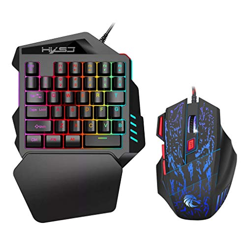 Portable Wired Gaming Keyboard Mouse Combo Ergonomic Multicolor Backlight One-Handed Keyboard Mouse Set Black (1 PC, Black) (Best Claw Grip Mouse 2019)