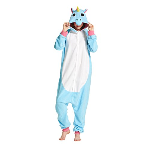 Hstyle Unisex Adult Animal Onesie Pajamas Plush Halloween Animal Cosplay Costume Sleepwear Homewear Unicorn -