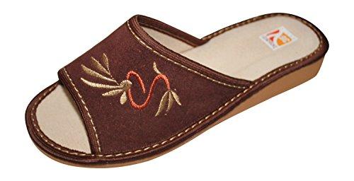 da a V2 Marrone Donna Pantofole Vero Punta Cuoio Lusso in Aperta di xOX8Z