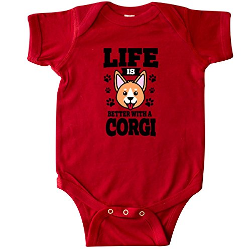 inktastic - Life is Better with a Corgi Infant Creeper 6 Months Red -