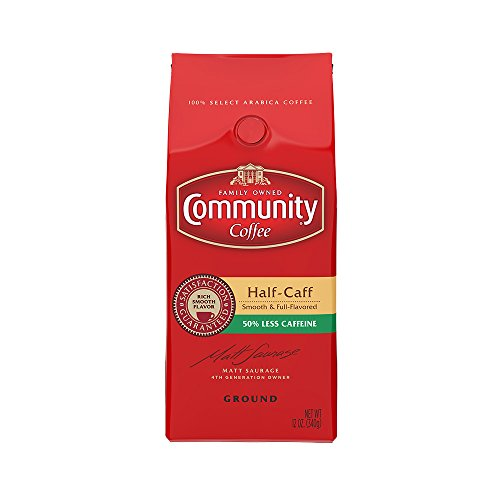 Coffee Beans Half Caff (Community Coffee Premium Ground Coffee, Half Caff, Medium-Dark Roast, 12 oz.,  (Pack of 3))