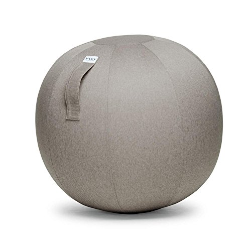 VLUV LEIV 29.5'' Premium Quality Self-Standing Sitting Ball with Handle - Home or Office Chair and Exercise Ball for Yoga, Stretching, or Gym Stone Colored Canvas Fabric (Stone Colored, 29.5'') by VLUV