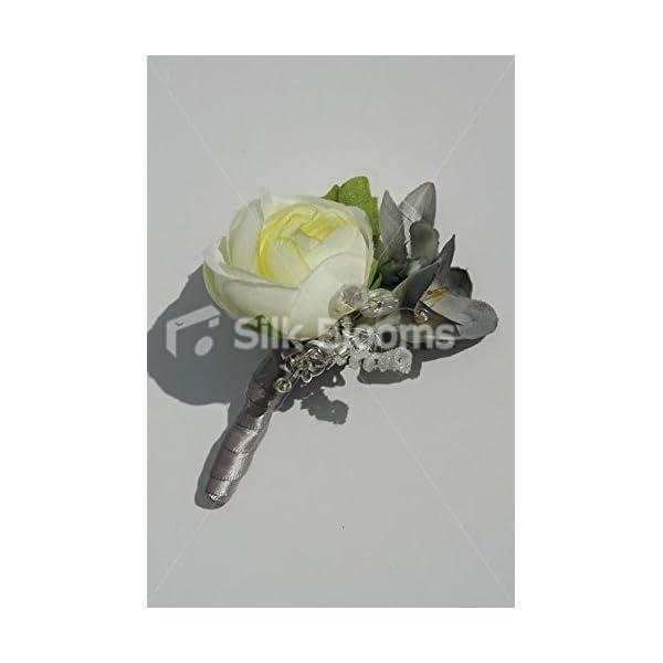 Modern Ivory Ranunculus & Grey Freesia Buttonhole w/ Sprays