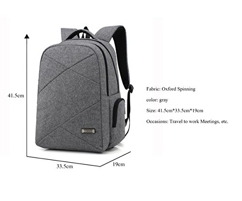 YPtong Herren College Student Backpack Freizeit Business Rucksack Nylon Wasserdicht Schulrucksack Fashion Gray laptoprucksack Grau