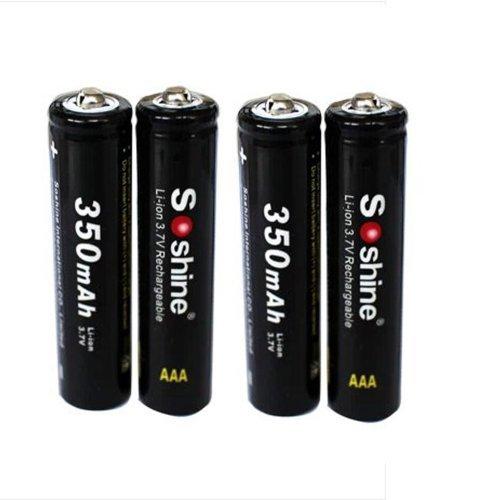 4pcs Soshine 10440 350 mAh Rechargeable Li-ion 3.7v Battery
