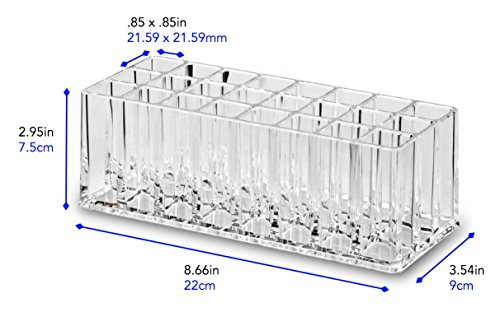 byAlegory Acrylic Lip Gloss Organizer & Beauty Makeup Holder   24 Space Organization Container Storage For Tall Lip Gloss / Lipstick Products - Clear