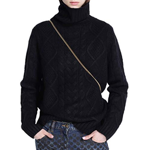 Ailaile Cashmere Wool Sweater Women's Twist Thick Turtleneck Pullover Female Loose Knitted Jumper (XL/US Size 16-20, Black)