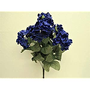 JumpingLight Blue Hydrangea Bush 7 Heads Artificial Silk Flowers 19'' Bouquet 730BL Artificial Flowers Wedding Party Centerpieces Arrangements Bouquets Supplies 100