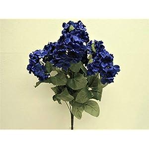 "JumpingLight Blue Hydrangea Bush 7 Heads Artificial Silk Flowers 19"" Bouquet 730BL Artificial Flowers Wedding Party Centerpieces Arrangements Bouquets Supplies"