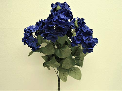JumpingLight Blue Hydrangea Bush 7 Heads Artificial Silk Flowers 19'' Bouquet 730BL Artificial Flowers Wedding Party Centerpieces Arrangements Bouquets Supplies