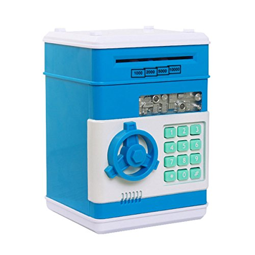 Money Banks, Netspower Security Piggy bank Digital Electronic Money Bank for Kids, Mini ATM Coin Saving Banks,Coin Saving Boxes,Toys Gifts Birthday Gifts for Kids - Blue