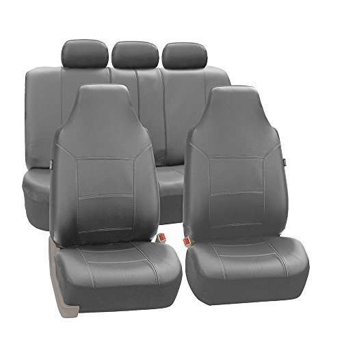 FH Group Universal Fit Full Set High Back Royal Seat Cover - PU Leather (Solid Gray) (Airbag compatible and Rear Split, Fit Most Car, Truck, Suv, or Van, FH-PU103115) -