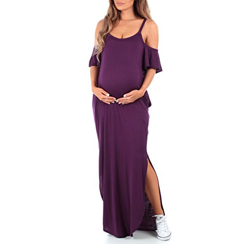 Womens Cold Shoulder Maternity Dress with Pockets - Made in USA