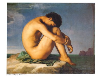 Young Male Nude, 1855 Art Poster Print by Hippolyte Flandrin, 32x24