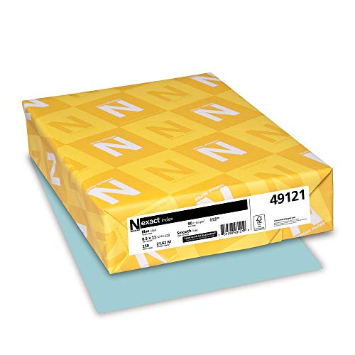 (Wausau Exact Index Cardstock, 90 lb, 8.5 x 11 Inches, Pastel Blue, 250 Sheets (49121) (Renewed))
