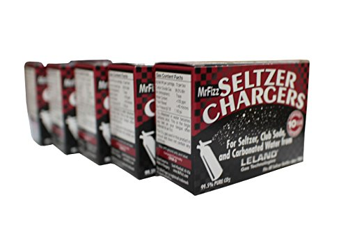 MrFizz LS-50 Sod, Leland Mr Fizz Seltzer 8g CO2 Charger 50PK Compatible with All 1 Liter/Quart Soda Siphons, - Siphon Charger Soda