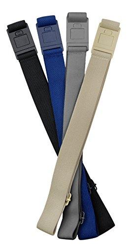 Beltaway SQUARE BUCKLE Belt 4 PACK(One SIze):BLACK, GRAY, DENIM & SAND