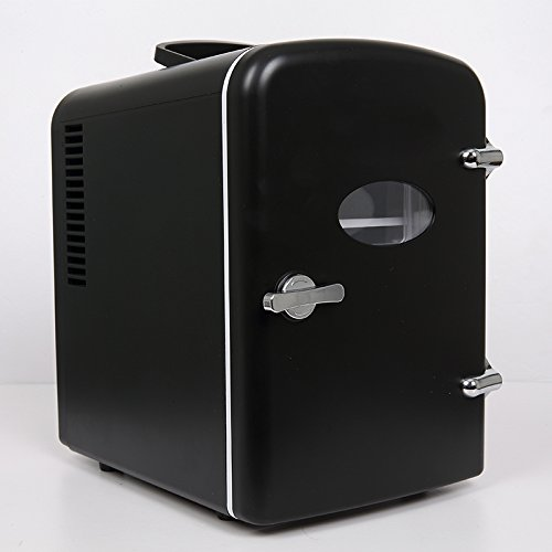 Retro Portable 6 Can Mini Fridge Cooler - Home,Office, Car or Boat - AC & DC - Black - 110/120V by Generic