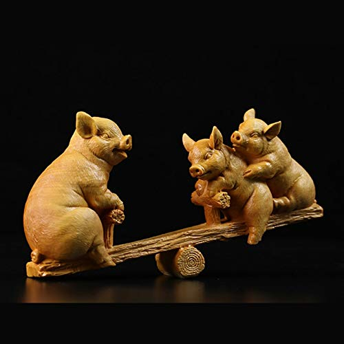 Three Little Pigs Statues - Figurines & Miniatures - Three Little Pigs Seesaw Statue Kids Room Decoration Wooden Sculpture Buxus Sinica Buda Boxwood Wood Statues for Decoration Gift - by GTIN - 1 Pcs