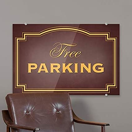 Classic Brown Premium Acrylic Sign 36x24 CGSignLab Free Parking