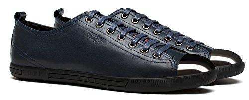 OPP Hombres Sneaker Zapatos de Piel Diseño de marca Azul
