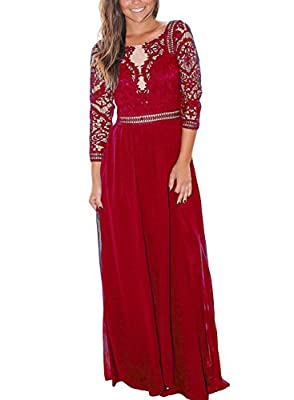 Dokotoo Womens Retro Floral Lace Vintage 3 4 Sleeve Chiffon Wedding Maxi Dress