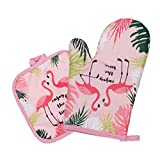 UPKOCH Heat Resistant Oven Mitts and Mat Anti-Scald Glove and Pad Flamingo Printed Baking Protective Glove Mat for Home Kitchen Cooking Baking 2 Pcs