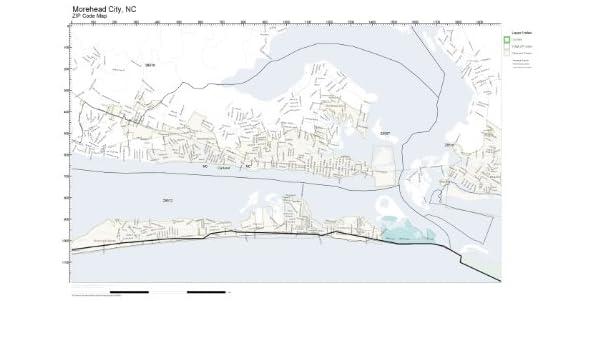 Amazon Com Zip Code Wall Map Of Morehead City Nc Zip Code Map