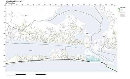 Amazon Com Zip Code Wall Map Of Morehead City Nc Zip Code Map