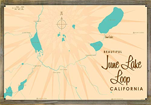 June Lake Loop California Vintage-Style Map Metal Print on Reclaimed Barn Wood by Lakebound (24