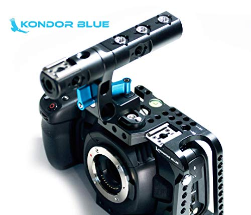 KONDOR BLUE BMPCC 4K Full Cage Rig for Blackmagic Pocket Cinema Camera 4K with Top Handle, NATO Rails, 15mm Rod, Cold Shoe, Bubble Leveler and Optional T5 SSD Holder & Metabones Speedbooster Bracket!