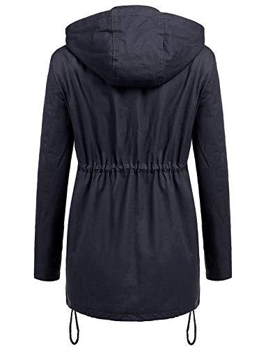 Pulsante Donna Cerniera Casual Jacket Elegante Blau Coulisse Cappotti Navy Lunga Outdoor Cappuccio Antivento Manica Moda Monocromo Giacche Transizione Di Fashion Ragazza Invernali Giacca Con Of7wdA