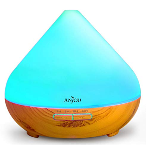 Essential Oils Diffuser, Anjou 300ml Aromatherapy Diffusers Ultrasonic Aroma Humidifier with Cool Mist  Waterless Auto Shut-Off, 4 Timer Settings, 7 Color LED Lights(Light Grain)
