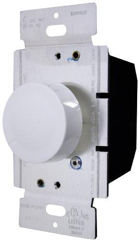 Enerlites 52100-A 600-Watt Single Pole Rotary Dimmer, 120-Volt AC, 60Hz, (120v Almond)