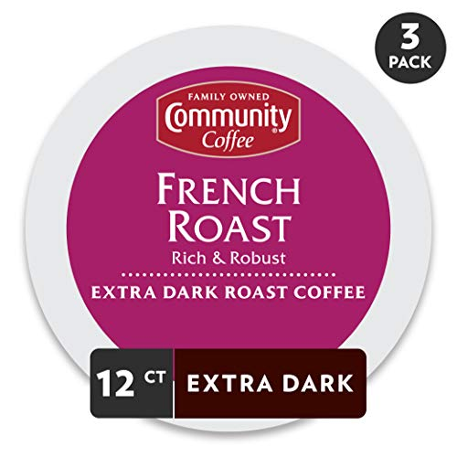 Decaf 8 Oz Gourmet Coffee - Community Coffee French Roast Extra Dark Single Serve 36 Ct Box, Compatible with Keurig 2.0 K Cup Brewers, Full Body Rich Robust Taste, 100% Arabica Coffee Beans