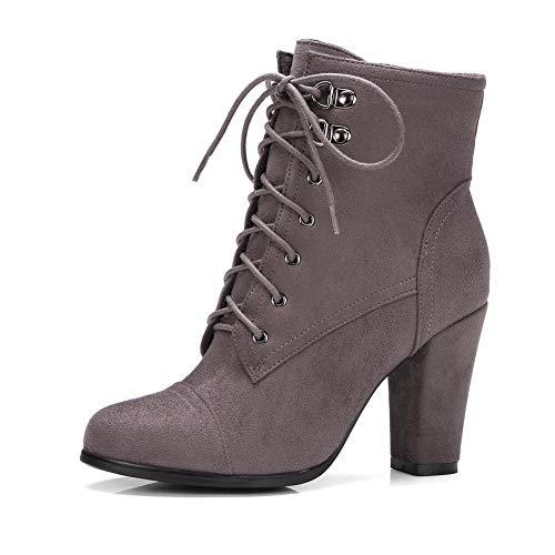 Hoesczs De Grey Tamaño Botas Mujer Moda Estrenar Cordones Tacones Zapatos 34 43 A Invierno Dark Gran Altos Botines rEpfwxrq