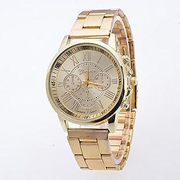 Relojes Hermosos, Hombre Chino Cuarzo Reloj Casual Aleación Banda Moda Dorado (Color : Oro) : Amazon.es: Deportes y aire libre