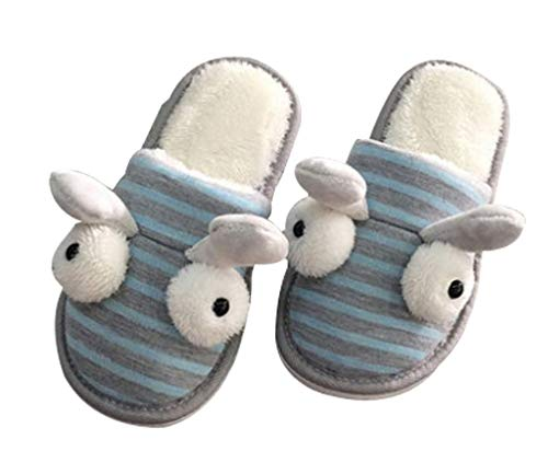 Fleece Womens Funny Slippers Fuzzy Slipper Bedroom Cute Blue House 1RRdUWwqrT