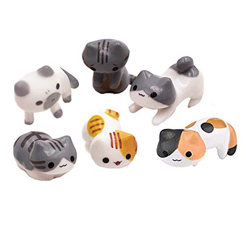(Miniature Cat Edge of the Cup Figure Cute Cartoon Kitten Cake Topper Micro Kitty Cup Toy Ornament 6Pcs)