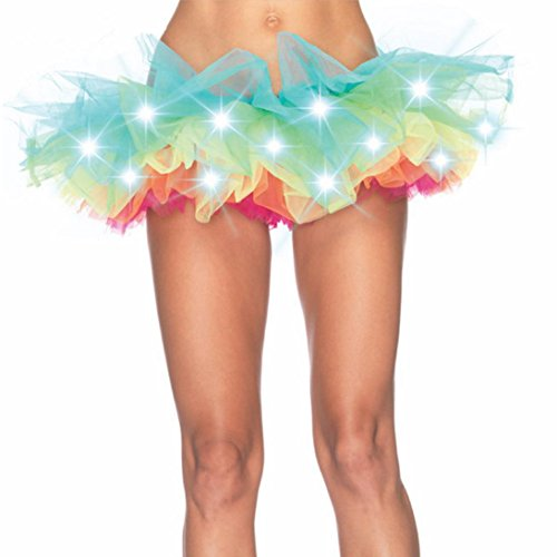 [Fluffy Skirt Makalon LED Stage Party Gauze Costumes Nightclub Lighting Luminous Dress (XXL)] (Grease Lighting Costumes)