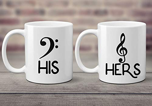 Music Lovers Coffee Mug Set. His and Hers. Wedding Gift. Bass and Treble Clef. Gift for Music Teacher. Musicians. Gift for Newlyweds.