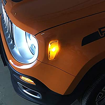 BICYACO Turn Signal LED Lights Smoked Lens Amber LED Lamps Update Kit W/T10 Bulb for Jeep Renegade 2014 2015 2016 2Pcs -Black: Automotive