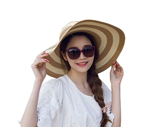 Women's Beachwear Sun Hat Striped Straw Hat Floppy Foldable Big Brim Hat Cap (Khaki&white)