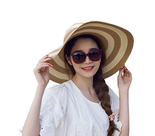 Striped Straw Hat (Women's Beachwear Sun Hat Striped Straw Hat Floppy Foldable Big Brim Hat Cap (Khaki&white))