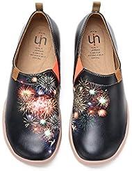 UIN Womens Fireworks Display Comfort Microfiber Slip-On Shoes Black