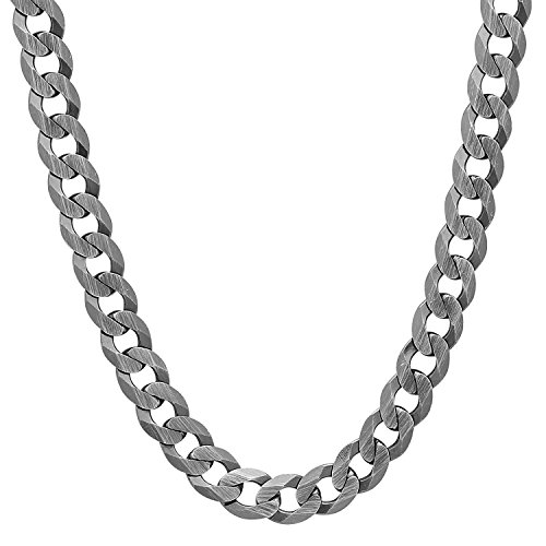 Men's Solid 925 Sterling Silver 5.6mm Flat Curb Chain w/Brushed Finish, 24 Inch + Jewelry Polishing Cloth
