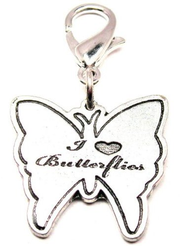 Chubby Chico Charms I Love Butterflies Pewter Charm on a Zipper Pull (Pewter Charm Butterfly)