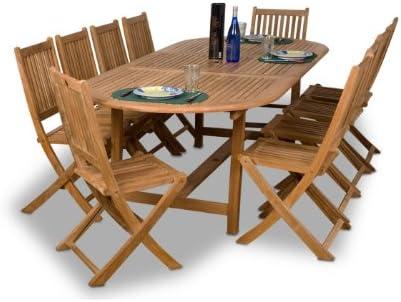 Amazon Com Amazonia Teak Bergen 11 Piece Teak Dining Oval Set