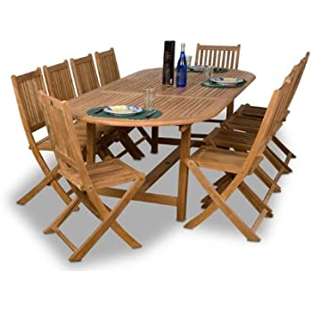 Amazon Com Amazonia Teak Bergen 11 Piece Teak Dining Oval